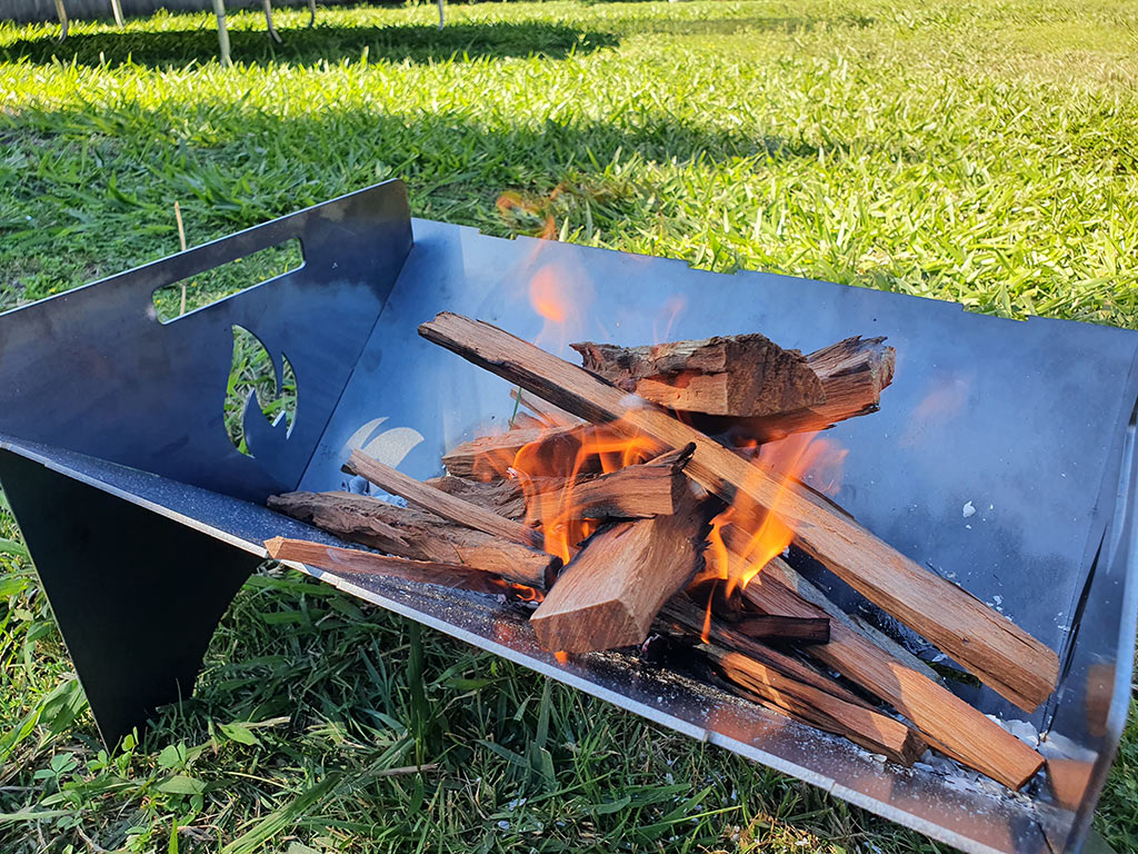 Fire burning well in a portable fire pit