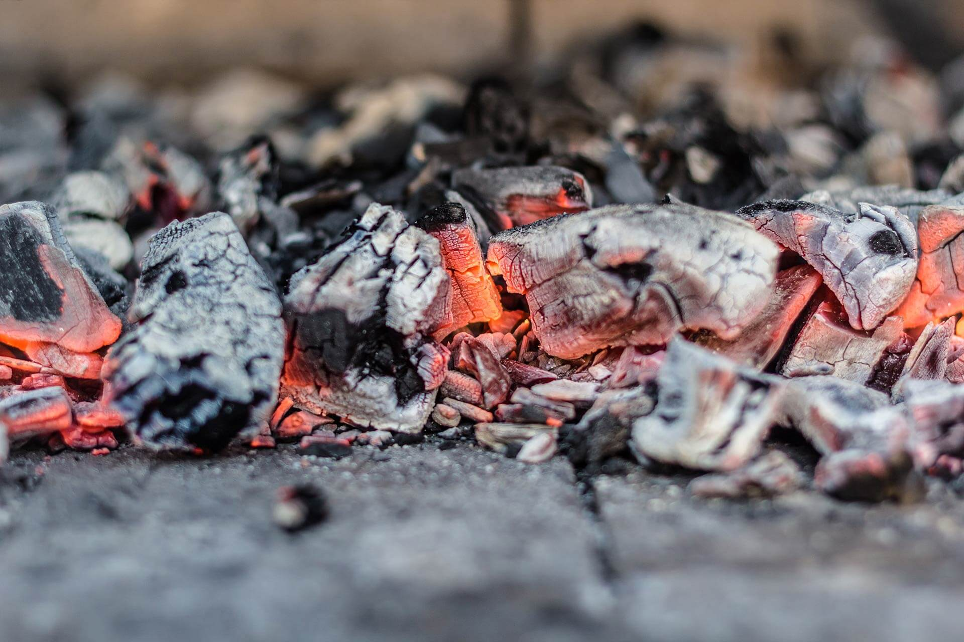 hot coals from putting out fire in a fire pit